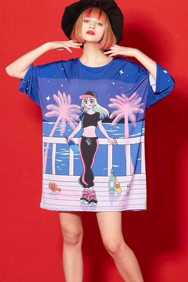 『シティポップ』お酒と女の子Tシャツ -メガビッグ-