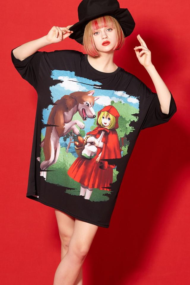 本当は怖い童話『赤ずきん』Tシャツ -メガビッグ-